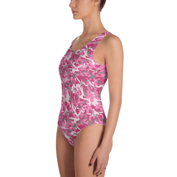 SEXY PINK MILITARY CAMOUFLAGE - STRONG ARMY GIRL CAMO ONE-PIECE SWIMSUIT - LADIES' BEACHWEAR BATHING SUIT
